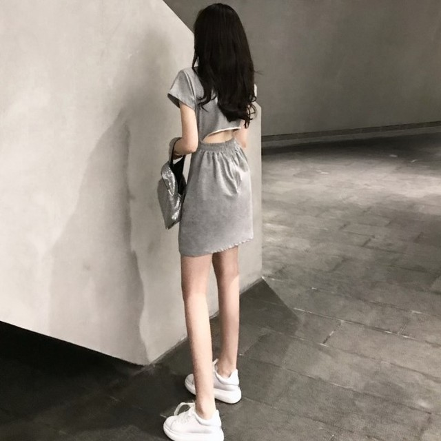 【dress】気質chic後透かし彫り美シルエット半袖ショート丈カジュアルワンピース