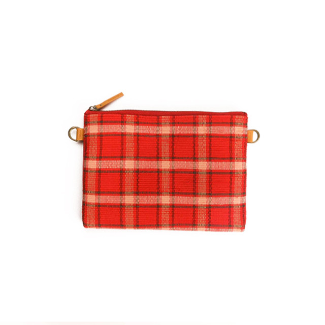 Flat Pouch Harf / Red × Beige : 2110100200502
