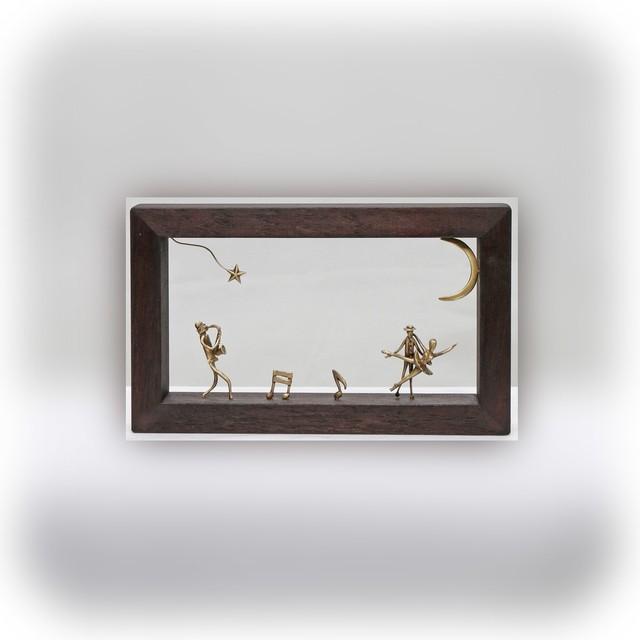 ウッド&フレーム(W3) 「サックスを吹く男とバレリーナたち」15X20X4 cm