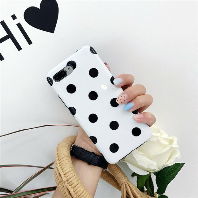 【Android対応】ブラック水玉ドット柄ホワイトケースデザイン(SPCh0007)◆iPhoneケース/スマホケース
