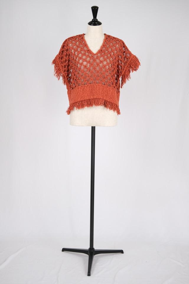 【EBONY】cotton fringe knit - orange