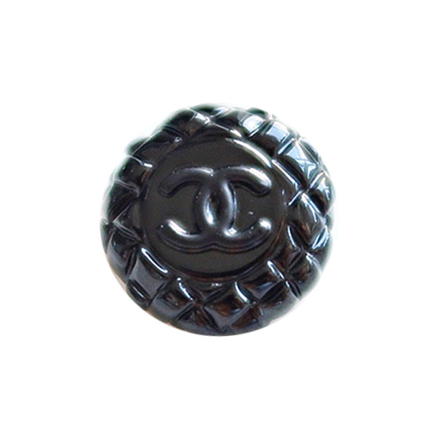 【VINTAGE CHANEL BUTTON】ブラックキルティング風 ココマーク ボタン 18mm