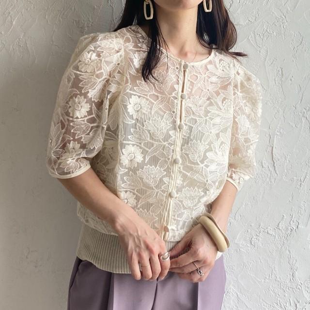 ◆即納◆オーガンジー 刺繍デザイン シアーカーディガン