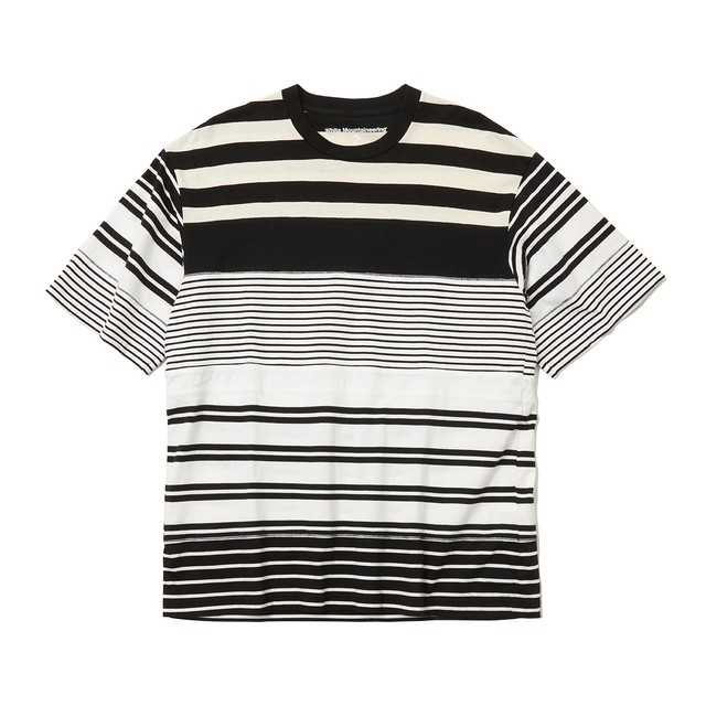 CONTRASTED STRIPE T-SHIRT -WHITE