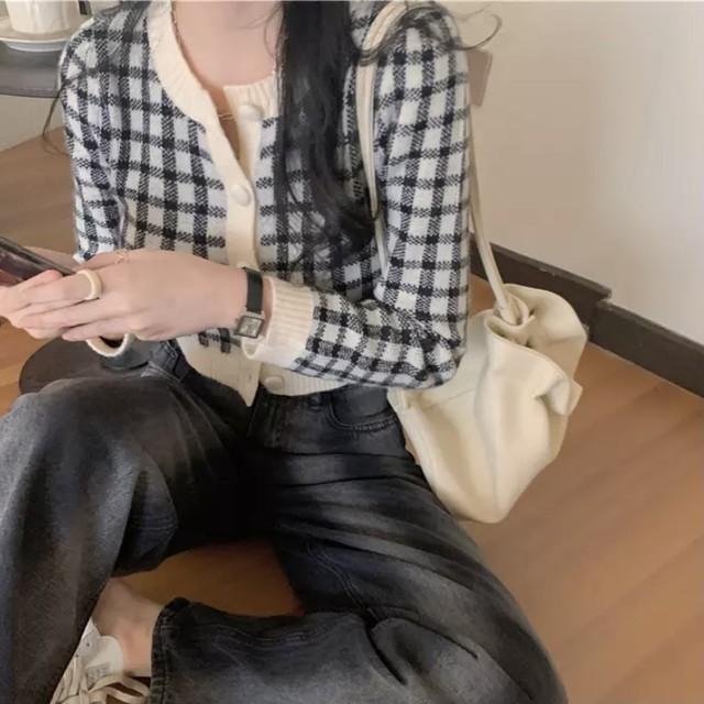 【残り1着!】即日発送 チェック柄 ニット スイート カーディガン ブラック C0173