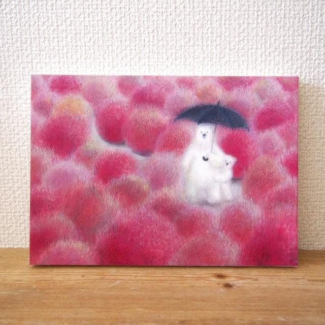 *「 ピンク色のコキア」 (複製画) 木製パネル サイズ変更可