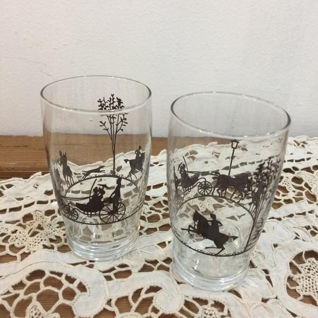 昭和レトロ モダン影絵柄ガラスコップ