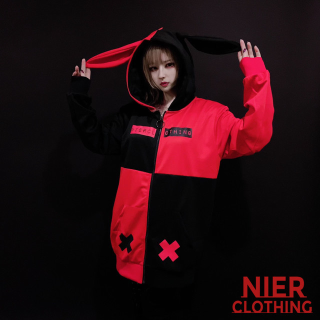 うさ耳付きBICOLOR ZIP OUTER【RED×BLACK】