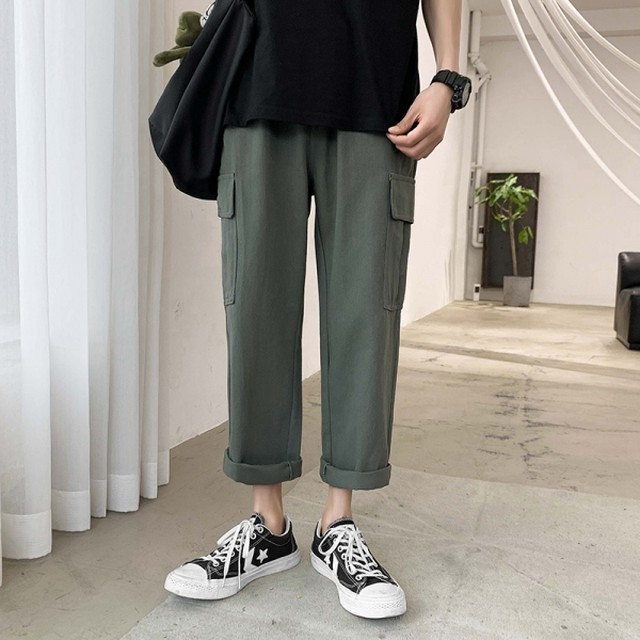 【メンズファッション】定番シンプル しっかり 水洗いに強く ファッション 無地アンクル丈 S-3XLカジュアルパンツ42483076