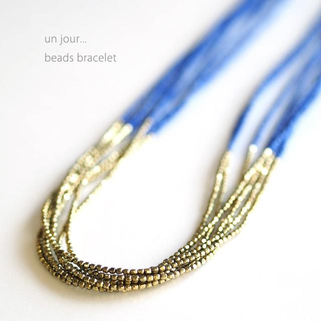 シードビーズ×真鍮 ネックレス ネイビー 58010014-03