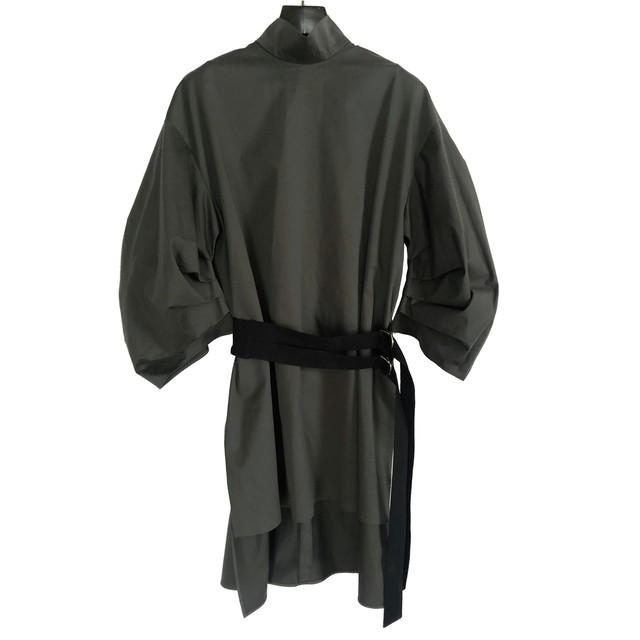 Belt High neck Dress <KHAKI> sample