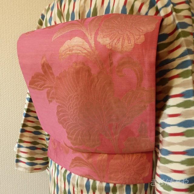 正絹紬 蘇芳の無地のつくり帯