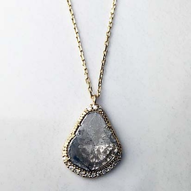 Sliced Diamond Long Necklace