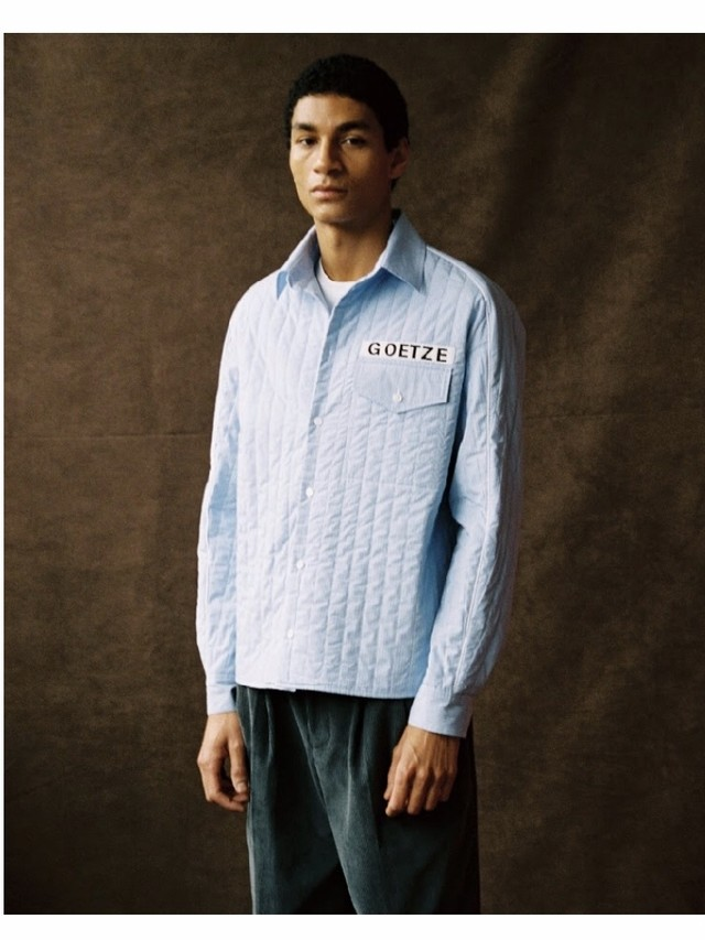 【GOETZE】BOXY SHIRT WITH CONTRASTING PIPING LIGHTBLUE PINSTRIPE QUILT