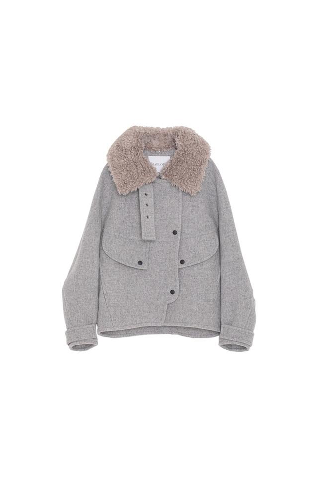ボアカラージャケットコート< light gray >