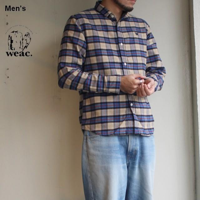weac. チェックシャツ PUGCHAN  (BEIGE × BLUE)