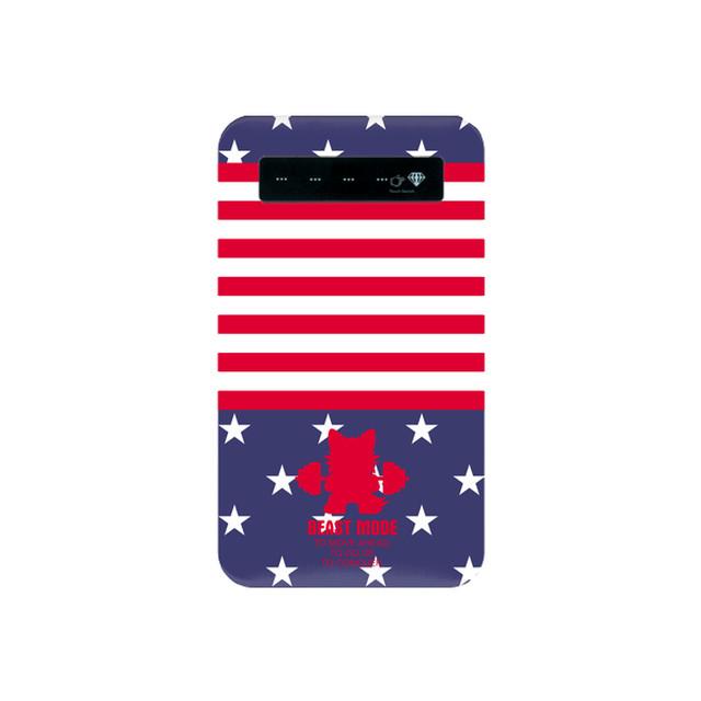 【BEASTMODE】携帯充電器 シルエット バーベルチワワ 星条旗