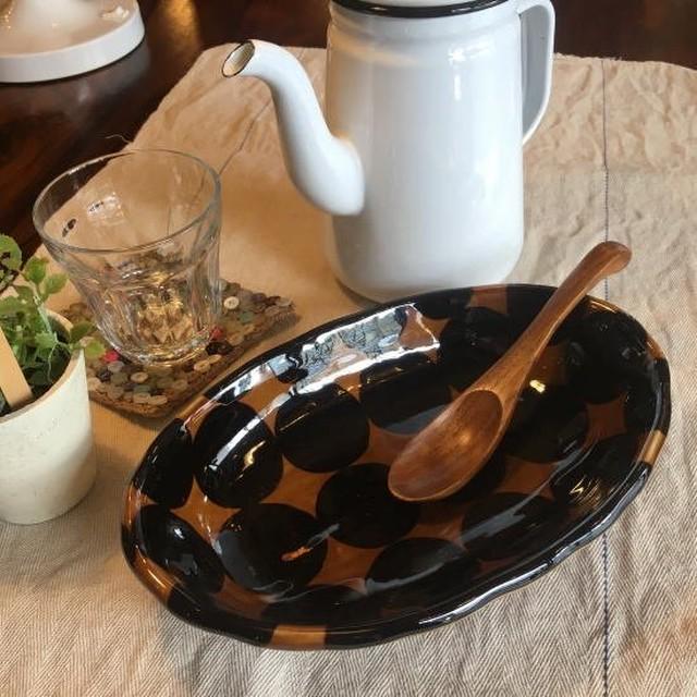 美濃焼 シェル型楕円皿 ドット/アメ