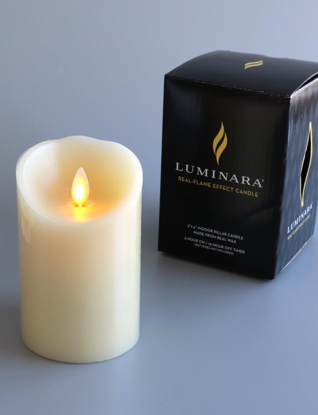 LEDキャンドル Mサイズ:LUMINARA 「ルミナラピラー3×4」色:アイボリー
