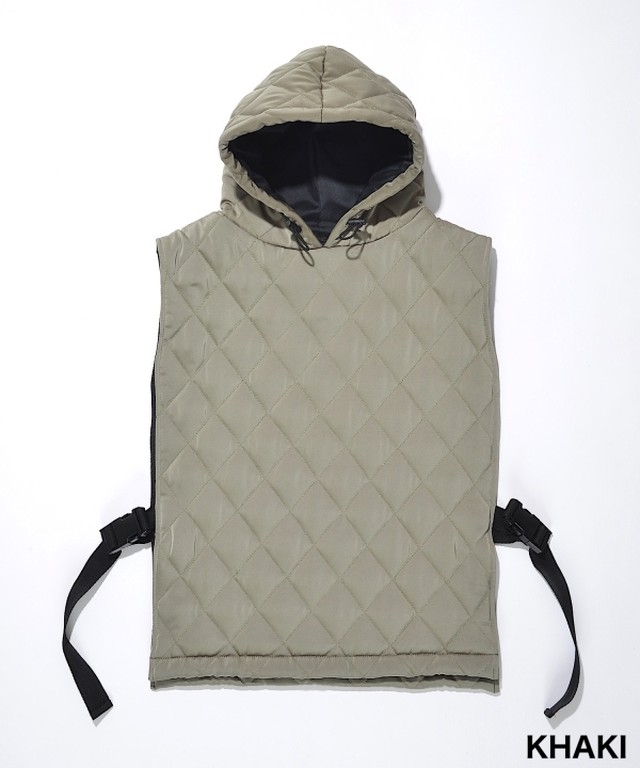 【SUPERTHANKS MEN】QUILTING HOODIE VEST:カーキ