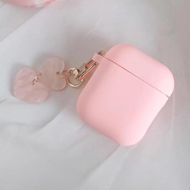 【AirPodsケース】ピンクケース かわいい2連の大理石風ハートチャーム付き(APC0024PK)◆AirPodsケース