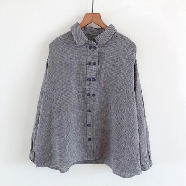 ダブルボタンスタンドカラーチェックシャツ 2 colors