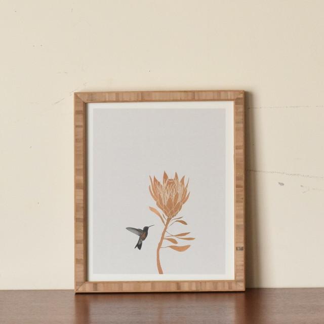 【即納】フレーム入りアートプリントHUMMING BIRD FLOWER