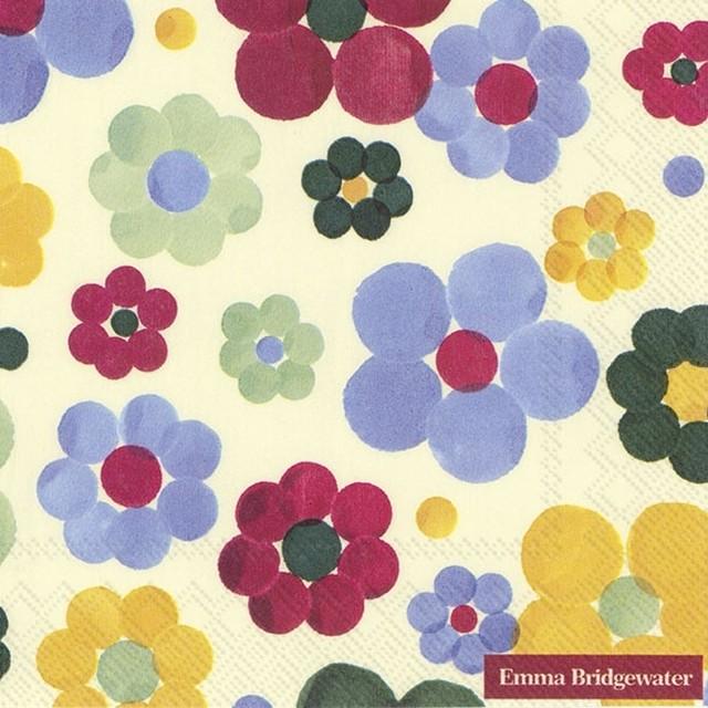 入荷しました|2020春夏【Emma Bridgewater】バラ売り2枚 ランチサイズ ペーパーナプキン ROUNDED FLOWERS クリーム