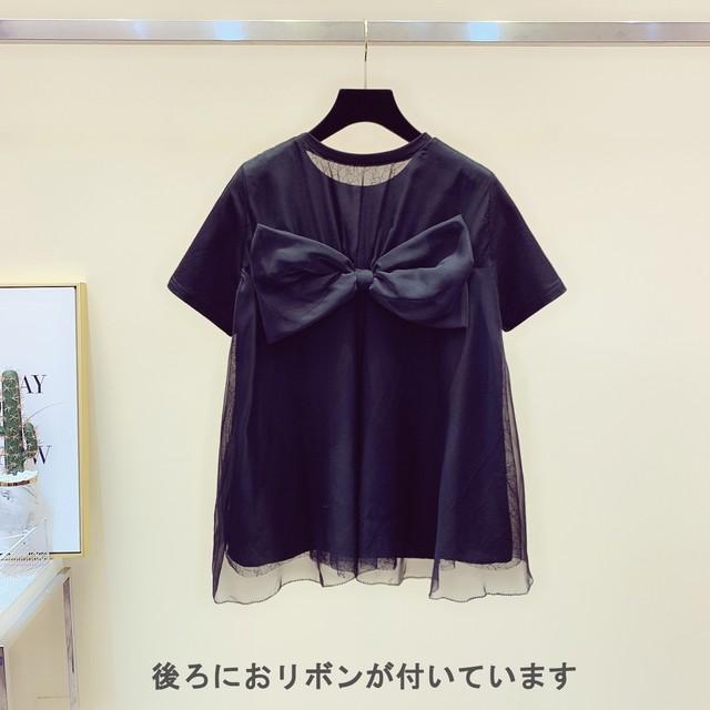 【トップス】バックリボン Tシャツ・ブラック