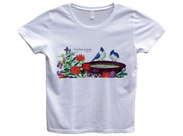 お花と小鳥のTシャツ