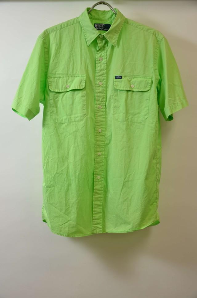 【Mサイズ】 POLO RALPH LAUREN ポロ ラルフローレン  S/S POLO R SHIRTS ボタンシャツ GREEN 400602190761