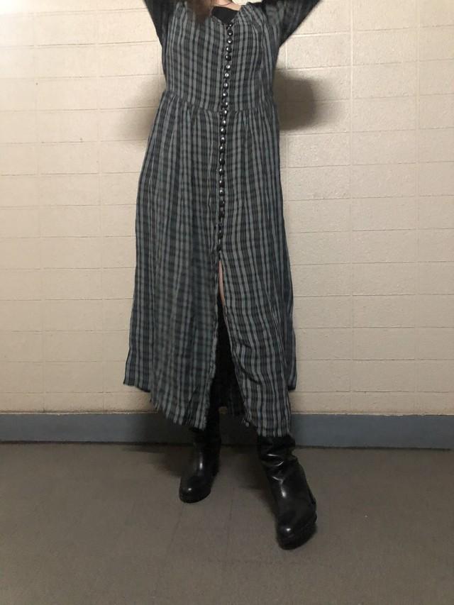 Check  pattern long dress