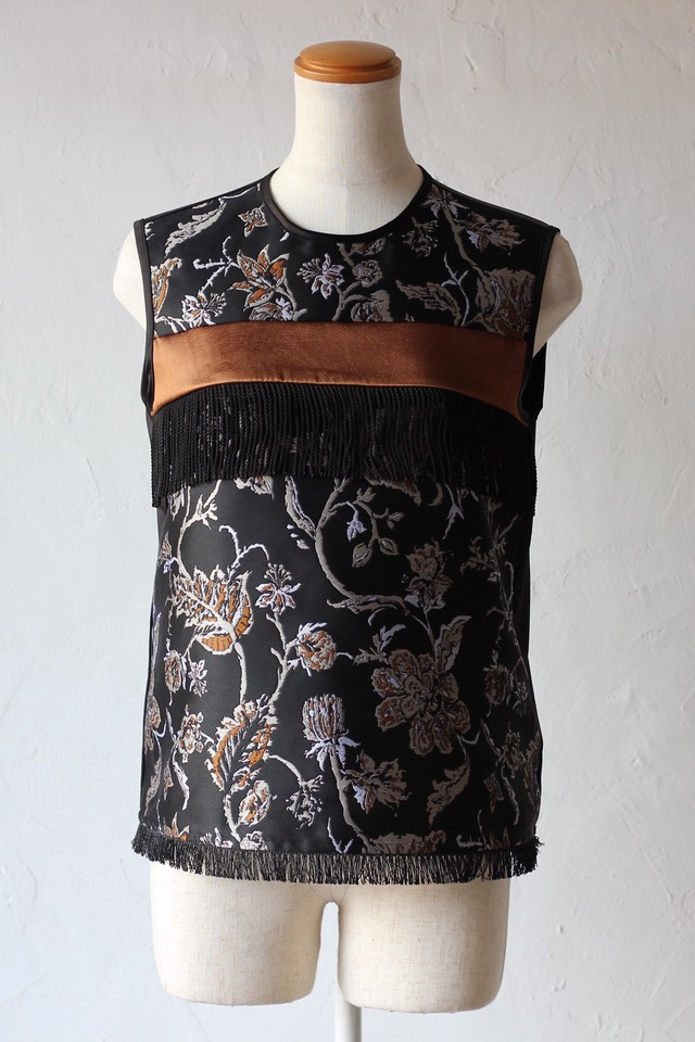 【EBONY】flower jacquard tops.