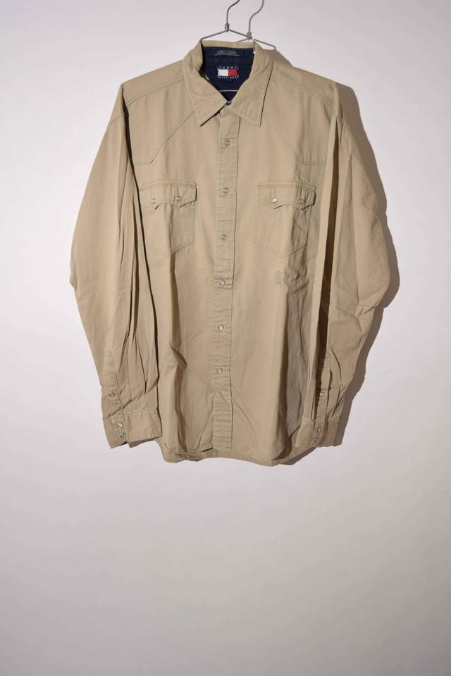 【Lサイズ】 TOMMY HILFIGER トミーヒルフィガー WESTERN SHIRT ウエスタンシャツ BEIGE 400602190736