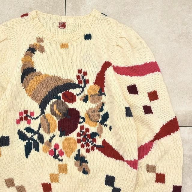 Clown jacquard design po knit sweater