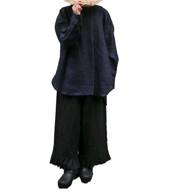 R&D.M.Co-/OLDMAN'S TAILOR garment dye gauze gather skirt black