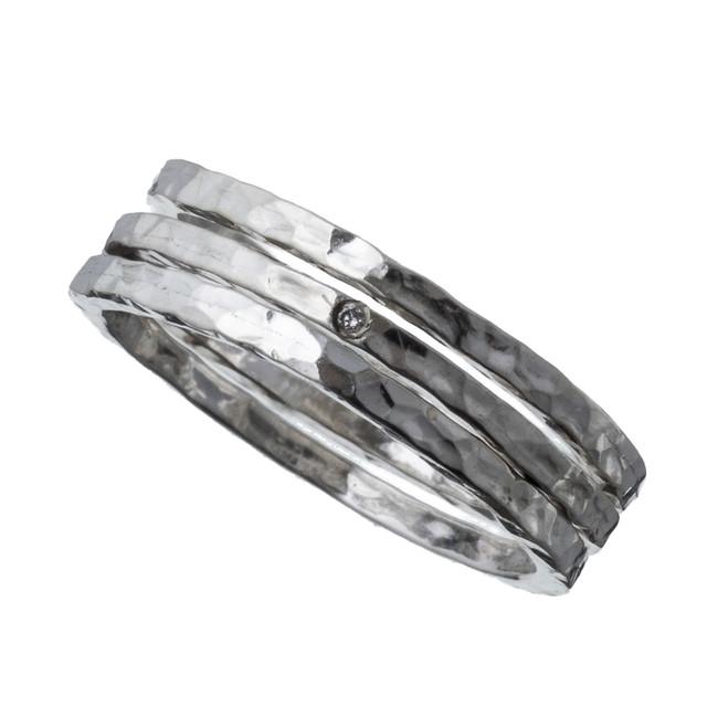ELR0024Sダイアモンド3連スタッカブルリング