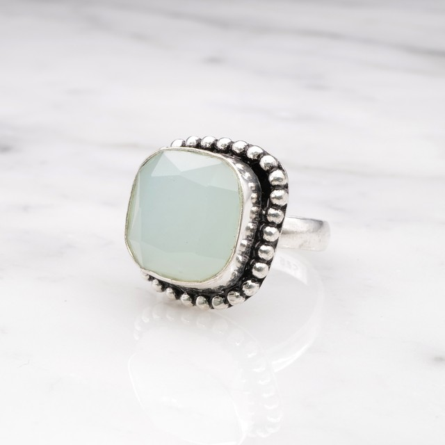 SINGLE BIG STONE RING SILVER 023