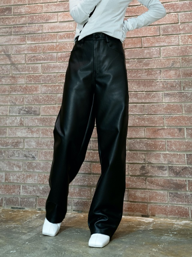 【UNISEX - 3 size】5 POCKET LEATHER PANT / Black