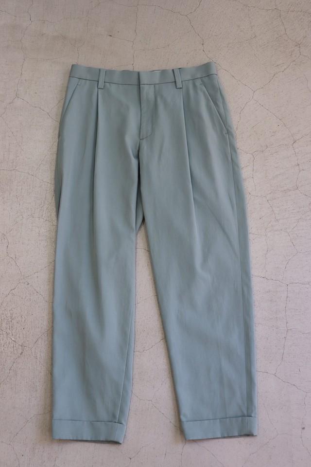 kemit 【ケミット】 WARP FILAMENT SILK✖️WEFT COTTON TWILL PANTS(BLUE)