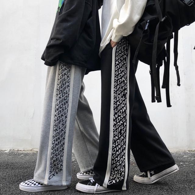 【大魔王シリーズ】★カジュアルパンツ★ 男女兼用 メンズ カップル服 M L LL 黒 グレー アルファベット