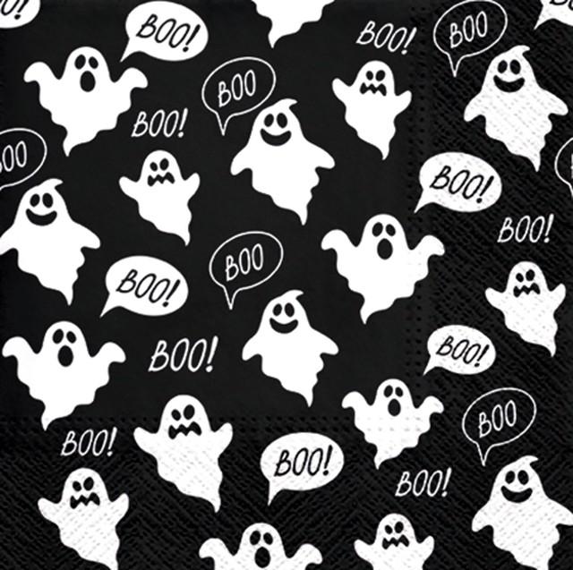 2021春夏新作【PAW】バラ売り2枚 ランチサイズ ペーパーナプキン Boo ブラック