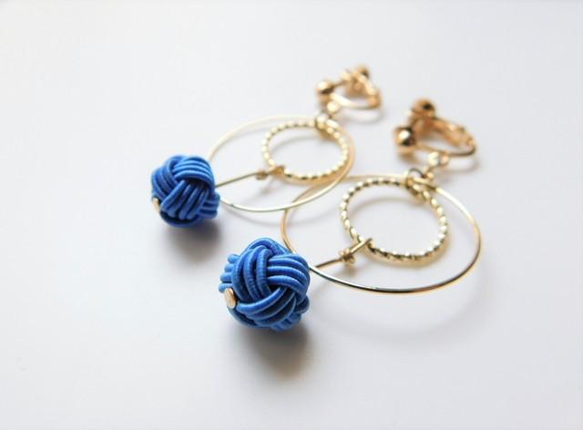 水引《わっかのピアス/イヤリング》 Color:ブルー