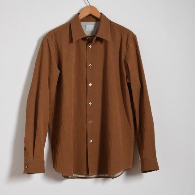 山内 yamauchi 有松塩縮加工リネンシャツ 羽根衿 camel