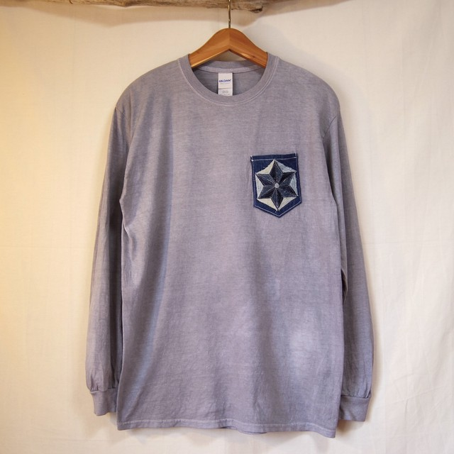 "TKHOME FACTORY ""麻柄 patchwork Denim Pocket"" 後染め Long sleeve T-shits Msize 鼠色"