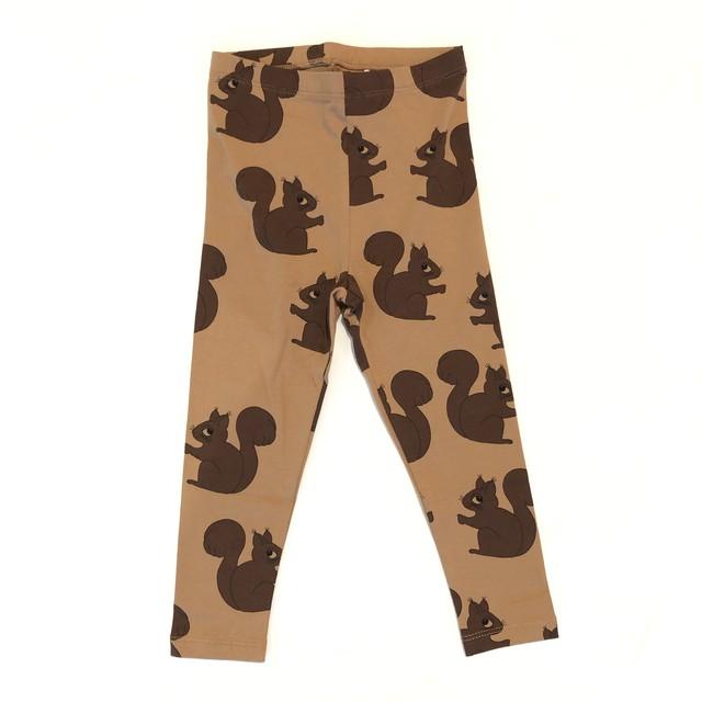 【21AW】 minirodini ( ミニロディーニ )  Squirrel aop leggings brownレギンス