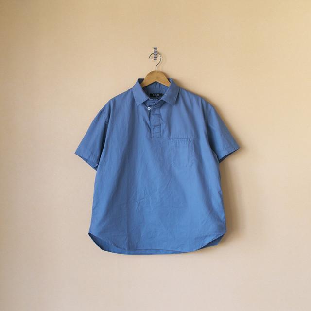 LOLO ロロ LS-364 オックス半袖プルオーバーシャツ・ブルーグレイ