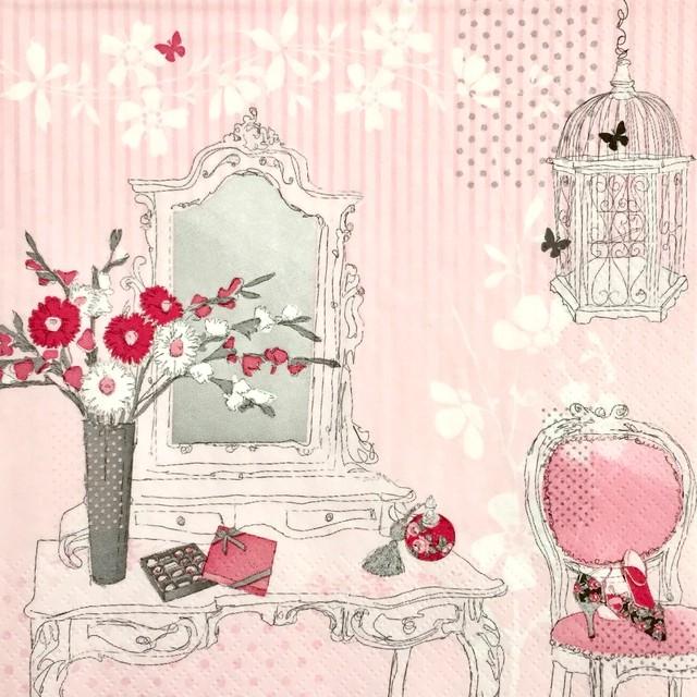 完売再入荷【ti-flair】バラ売り2枚 ランチサイズ ペーパーナプキン DRESSING TABLE ピンク