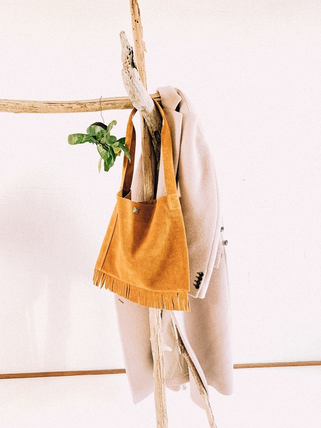 native fringe bag -mustard-