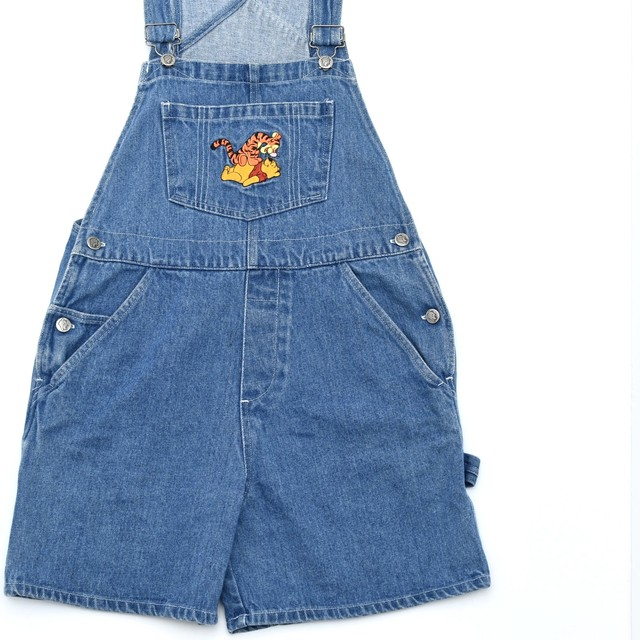 90s Winnie the Pooh denim overall shorts
